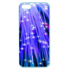 Neon Light Line Vertical Blue Apple Seamless Iphone 5 Case (color) by Mariart
