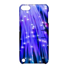 Neon Light Line Vertical Blue Apple Ipod Touch 5 Hardshell Case With Stand by Mariart