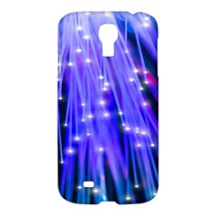 Neon Light Line Vertical Blue Samsung Galaxy S4 I9500/i9505 Hardshell Case by Mariart