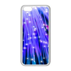 Neon Light Line Vertical Blue Apple Iphone 5c Seamless Case (white) by Mariart