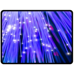 Neon Light Line Vertical Blue Double Sided Fleece Blanket (large)  by Mariart