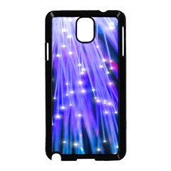Neon Light Line Vertical Blue Samsung Galaxy Note 3 Neo Hardshell Case (black) by Mariart