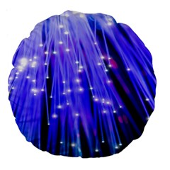Neon Light Line Vertical Blue Large 18  Premium Flano Round Cushions by Mariart