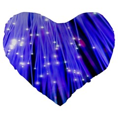 Neon Light Line Vertical Blue Large 19  Premium Flano Heart Shape Cushions by Mariart
