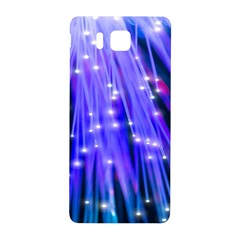 Neon Light Line Vertical Blue Samsung Galaxy Alpha Hardshell Back Case by Mariart