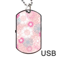 Scrapbook Paper Iridoby Flower Floral Sunflower Rose Dog Tag Usb Flash (two Sides) by Mariart