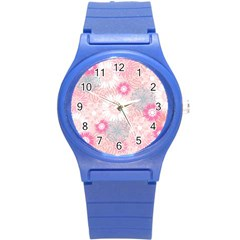 Scrapbook Paper Iridoby Flower Floral Sunflower Rose Round Plastic Sport Watch (s) by Mariart
