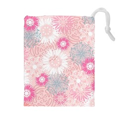 Scrapbook Paper Iridoby Flower Floral Sunflower Rose Drawstring Pouches (extra Large) by Mariart