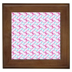 Squiggle Red Blue Milk Glass Waves Chevron Wave Pink Framed Tiles by Mariart