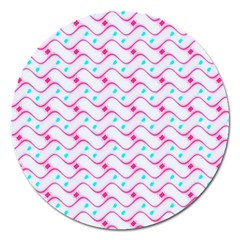 Squiggle Red Blue Milk Glass Waves Chevron Wave Pink Magnet 5  (round) by Mariart