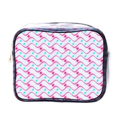 Squiggle Red Blue Milk Glass Waves Chevron Wave Pink Mini Toiletries Bags by Mariart