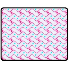 Squiggle Red Blue Milk Glass Waves Chevron Wave Pink Fleece Blanket (medium)  by Mariart