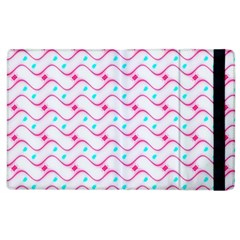 Squiggle Red Blue Milk Glass Waves Chevron Wave Pink Apple Ipad 2 Flip Case by Mariart