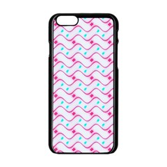 Squiggle Red Blue Milk Glass Waves Chevron Wave Pink Apple Iphone 6/6s Black Enamel Case by Mariart