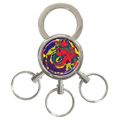 Abstract Art 3 Ring Key Chains by ValentinaDesign