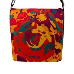 Abstract Art Flap Messenger Bag (l)  by ValentinaDesign