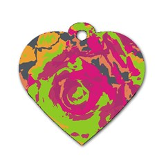 Abstract Art Dog Tag Heart (two Sides) by ValentinaDesign