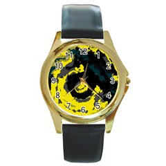Abstract Art Round Gold Metal Watch by ValentinaDesign