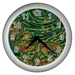 Unique Abstract Mix 1c Wall Clocks (silver)  by MoreColorsinLife