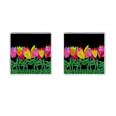 Tulips Cufflinks (square) by ValentinaDesign