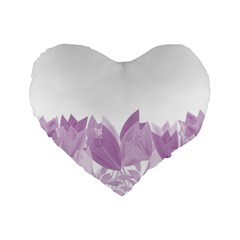 Tulips Standard 16  Premium Flano Heart Shape Cushions by ValentinaDesign