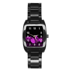 Tulips Stainless Steel Barrel Watch by ValentinaDesign