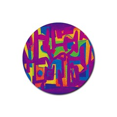 Abstract Art Rubber Coaster (round)  by ValentinaDesign