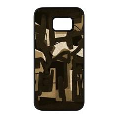 Abstract Art Samsung Galaxy S7 Edge Black Seamless Case by ValentinaDesign