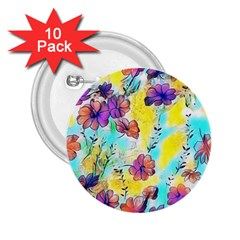 Floral Dreams 12 2 25  Buttons (10 Pack)  by MoreColorsinLife