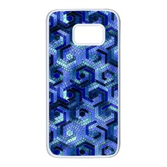 Pattern Factory 23 Blue Samsung Galaxy S7 White Seamless Case by MoreColorsinLife