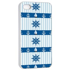 Sea Pattern Apple Iphone 4/4s Seamless Case (white) by Valentinaart