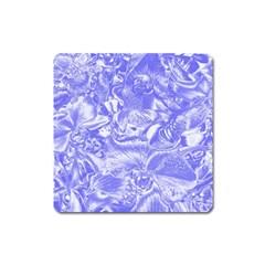 Shimmering Floral Damask,blue Square Magnet