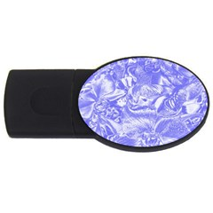 Shimmering Floral Damask,blue Usb Flash Drive Oval (4 Gb) by MoreColorsinLife