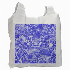 Shimmering Floral Damask,blue Recycle Bag (two Side)  by MoreColorsinLife