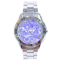 Shimmering Floral Damask,blue Stainless Steel Analogue Watch by MoreColorsinLife