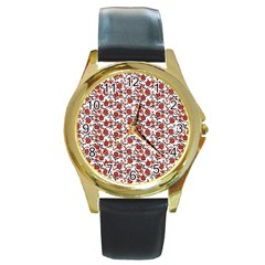 Roses Pattern Round Gold Metal Watch by Valentinaart