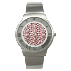 Roses Pattern Stainless Steel Watch by Valentinaart