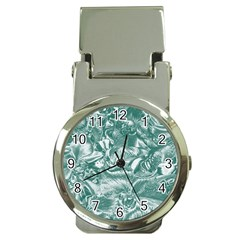 Shimmering Floral Damask, Teal Money Clip Watches by MoreColorsinLife