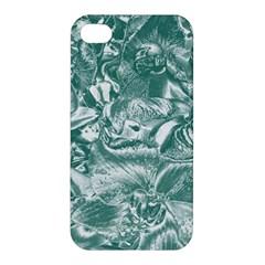 Shimmering Floral Damask, Teal Apple Iphone 4/4s Hardshell Case by MoreColorsinLife