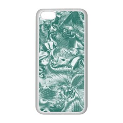 Shimmering Floral Damask, Teal Apple Iphone 5c Seamless Case (white) by MoreColorsinLife
