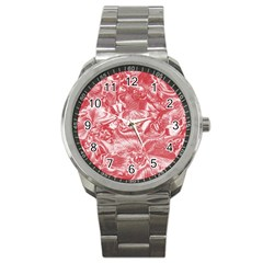 Shimmering Floral Damask Pink Sport Metal Watch by MoreColorsinLife
