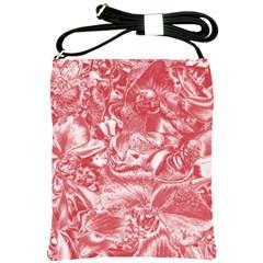 Shimmering Floral Damask Pink Shoulder Sling Bags by MoreColorsinLife