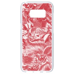 Shimmering Floral Damask Pink Samsung Galaxy S8 White Seamless Case