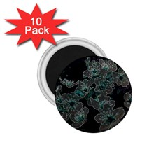 Glowing Flowers In The Dark C 1 75  Magnets (10 Pack)