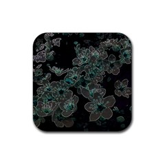 Glowing Flowers In The Dark C Rubber Square Coaster (4 Pack)  by MoreColorsinLife