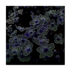 Glowing Flowers In The Dark B Tile Coasters by MoreColorsinLife