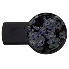 Glowing Flowers In The Dark B Usb Flash Drive Round (4 Gb) by MoreColorsinLife
