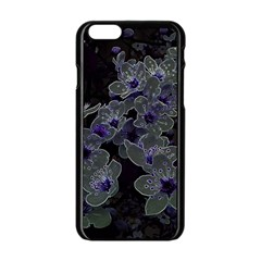 Glowing Flowers In The Dark B Apple Iphone 6/6s Black Enamel Case by MoreColorsinLife