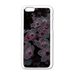 Glowing Flowers In The Dark A Apple Iphone 6/6s White Enamel Case by MoreColorsinLife