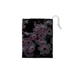 Glowing Flowers In The Dark A Drawstring Pouches (xs)  by MoreColorsinLife